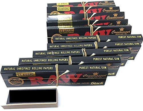 RAW Reds Brand Tips Exclusive with Black King Size Slim+ Tips Connoisseur Rolling Papers (10 Packs)