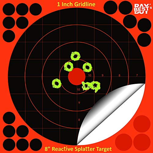 """Ray's Best Buy Self Adhesive 8"""" Reactive Fluorescent Splatter Target with 1 inch Gridline - High Contrast - Perfect for Zeroing - Pistol - Rifle - Shotgun - Airsoft -25 Pack"""