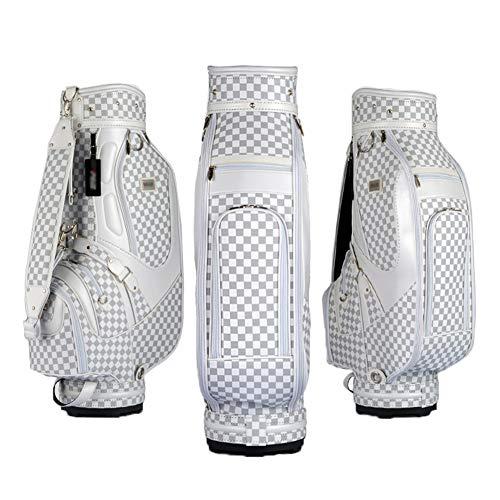 TYX-SS Stehender Golftaschenständer, wasserdichte Tragbare PU-Golf-Regenhaube, Standard-Golftasche Mit Großer Kapazität Für 13 Clubs Outdoor-Sportarten,Weiß