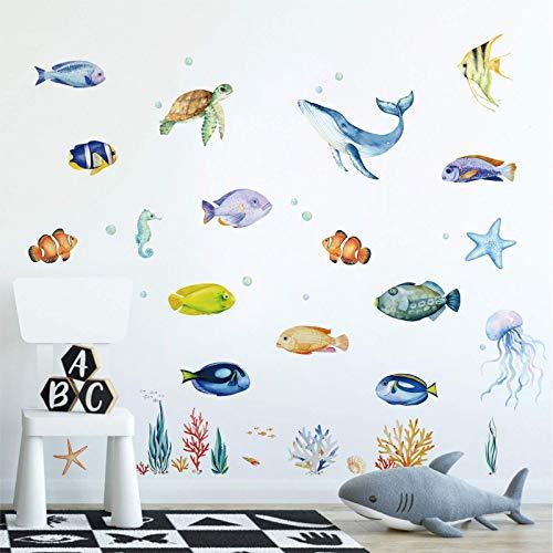 decalmile Pegatinas de Pared Bajo el Mar Vinilos Decorativos Oceano Tropical Peces Medusa Adhesivos Pared Habitación Infantiles Niños Bebés Guardería
