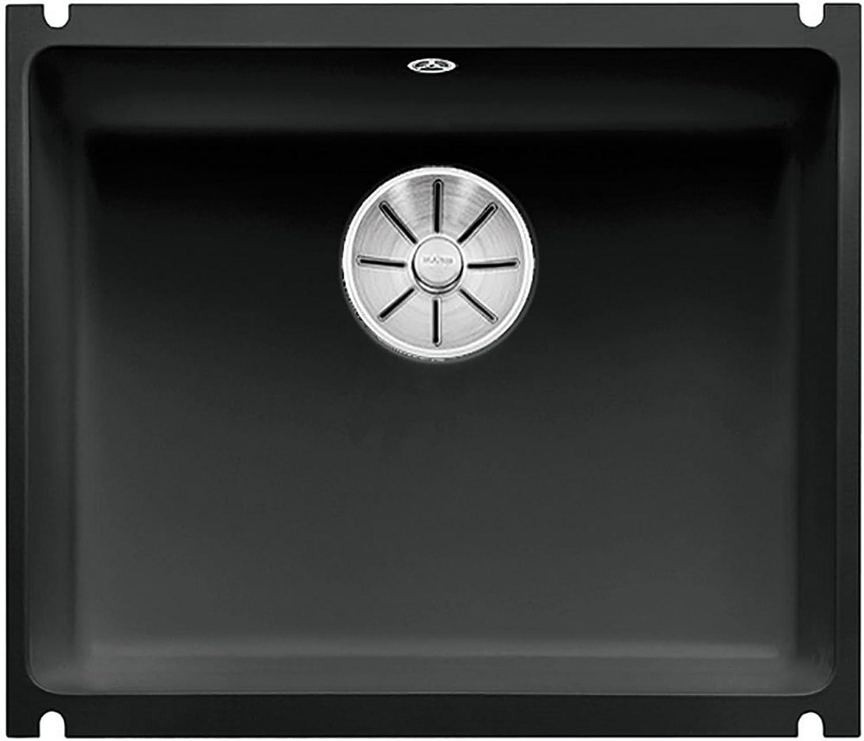 Weiß SUBLINE 500-U Unterbauspüle Keramik schwarz Stopfen