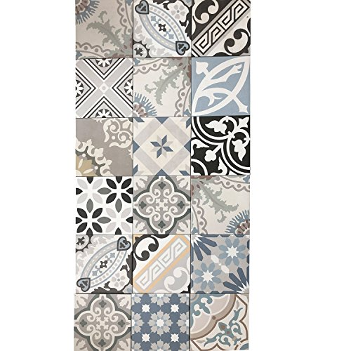 Casa-Moro Mediterrane Keramikfliesen Patchwork 20x20 cm glasiertes Fein- & Steinzeug in Zementoptik | Wandfliesen & Bodenfliesen | Schöne Dekoration für die Küche Flur Badezimmer | PWR5918