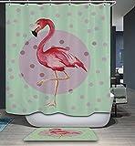 KISY Cortina de ducha impermeable resistente al moho, diseño de flamencos rosas...