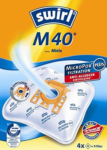 4 Staubsaugerbeutel Swirl M 40, M40 geeignet für Miele Complete C3 Silence EcoLine