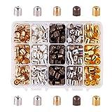 NBEADS Extremos del Cable De, 400 Unids 5 Colores 8 × 9mm Metal Tapas de Cuerda de Hierro para El Cordón de Cuero de la Borla DIY Que Hace
