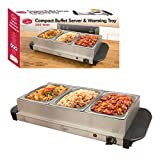 Quest 16520 Compact Triple Buffet Server and Warming Tray, Stainless Steel, 200W, 1.2L