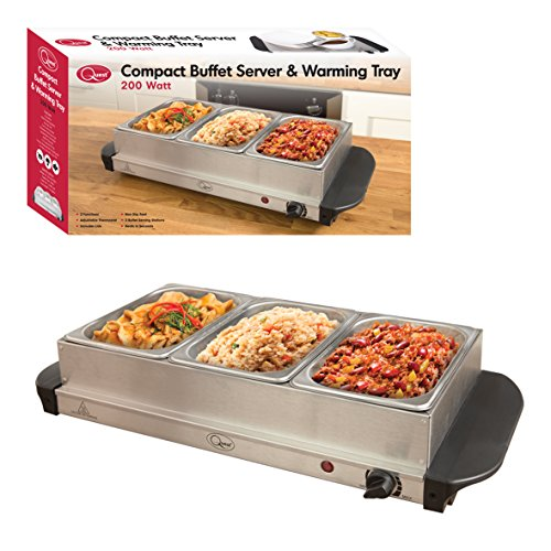 Quest 16520 Compact Triple Buffet Server and Warming Tray, Stainless Steel, 200W, 1.2L per tray, Silver