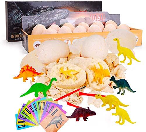 Jokooan Lot de 12 Oeufs de Dinosaures, Découvrez 12 Dinos Différents, Oeufs de Pâques Archéologie Paléontologie Jouet Dino Egg Excavation Kit Jouets STEM pour 4,5,6,7+ Ans Enfants Cadeau