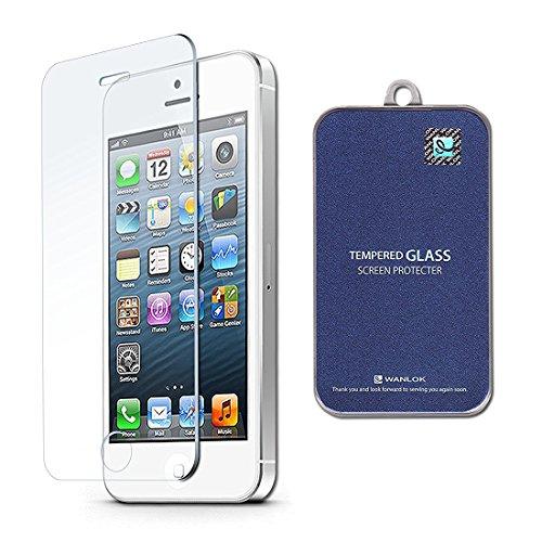 WANLOK 安心交換保証付 2015 新設計 ぴったりサイズ Apple iPhone5s / iPhone5c / iPhone5 強化ガラス 液晶保護フィルム 厚さ0.3mm NSG 日本板硝子社 国産ガラス採用 ガラスフィルム 2.5D 硬度9H ラウンドエッジ加工 全面フルカバー アップル アイフォン (1枚組)