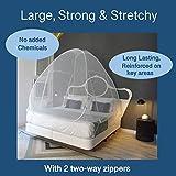 EVEN NATURALS Popup MOSKITONETZ Zelt, großes Mückennetz für Doppelbett, feinste Löcher, Camping Netz, Faltdesign mit Unterseite, 2 Einträge, einfache Installation, Tragetasche, Keine Chemikalien - 3