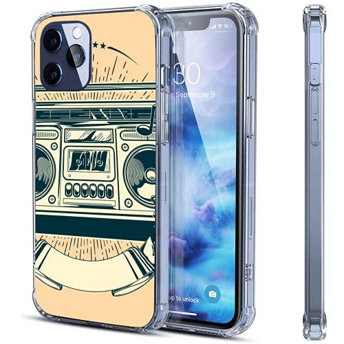 Funda transparente para iPhone 12 y 12 y iPhone 12 Pro a prueba de golpes con soporte protector de goma suave, dos tamaños