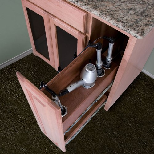 POJJO Vanity Valet Pullout - Curling Iron, Flat Iron, and Hair Dryer Holder Pullout System (Unfinished Right Side)