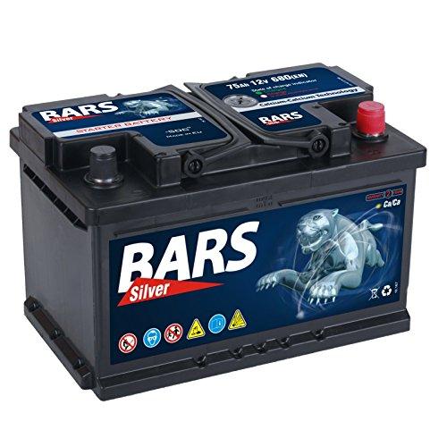 Bars Silver Autobatterie 12V 75Ah 680A Starterbatterie Wartungsfrei