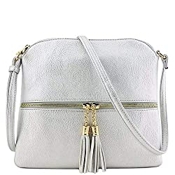 A pretty light blue crossbody purse with Tassel and strap