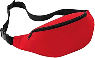 Unisex Outdoor Sports Running Oxford Solid Color Stylish Waist Pack Bag 2L (Red)