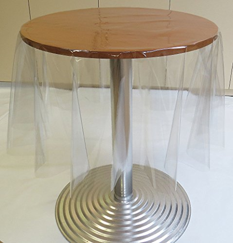 Wipeclean PVC Vinyl Round Tablelcoths in 3 Sizes (Clear Plastic, 54' Round (137CM) Approx)