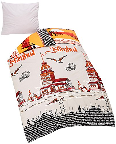 KESTEX Istanbul Bettwäsche 135x200 cm Set mit Skyline Muster / 2 teilig Bettbezüge 135x200 cm mit Reißverschluss + 80x80 cm Kissenbezug mit Reissverschluss