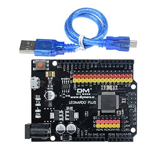 diymore Leonardo R3 Plus Microcontroller Scheda di Sviluppo microcontrollore I/O Micro Shield Module AT-me-ga32U4 per Leonardo R3 con Header e Cavo SPI I2C