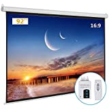 Kshioe Motorized Projector Screen with Remote Control, No Wrinkles, Without Dents, HD Screen, for Home Theater Office Classroom TV Usage (92inch 16:9)