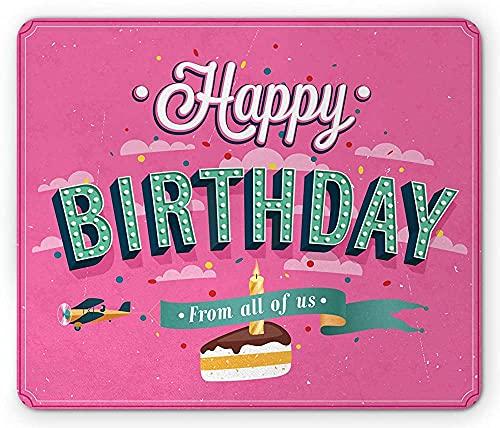 Tappetino per mouse per feste di compleanno, tipografia a tema auguri celebrativi accanto a torta e fetta di candela, tappetino per mouse rettangolare in gomma antiscivolo, dimensioni standard, rosa m