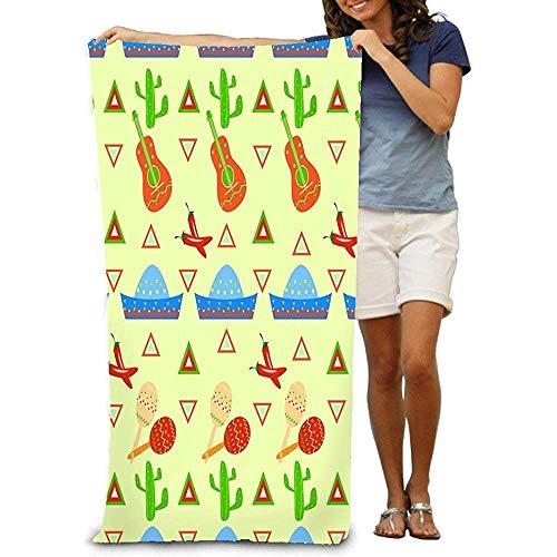 Yocmre grote strand handdoek, zachte handdoek Gitaar Mexico patroon driehoek Maracas heerlijk