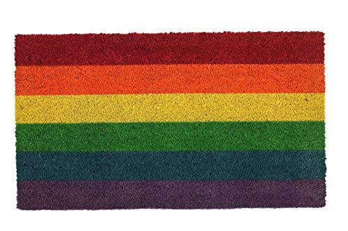 LucaHome - Felpudo Coco Natural 40x70 Antideslizante, Felpudo de Coco Bandera Orgullo, Felpudo Absorbente Entrada casa, Ideal para Exterior o Interior