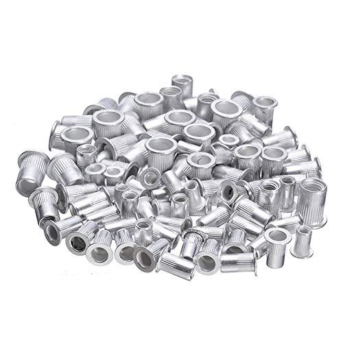 DShanLa Herramientas 100pcs Acero Remaches de Aluminio nueces Kit de Tuercas roscadas Inserciones Rivnut Nutsert M4 M5 M6 M8 Mixta del Kit de Reparación DShanLa