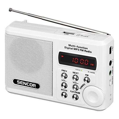 Sencor SRD 215 W Analógica Blanco - Radio (Analógica, FM, 88-108 MHz, 2 W, 3,5 mm, Blanco)