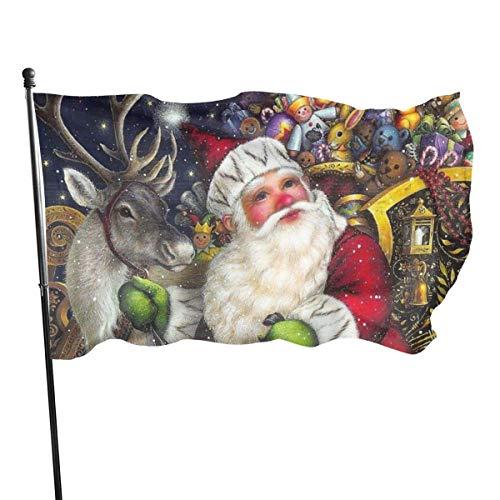 Banderas para jardín Reno de Navidad presenta Santa Navidad Bandera Grande de balcón para Exterior Reforzada y con 2 Ojales metálicos 90x150cm