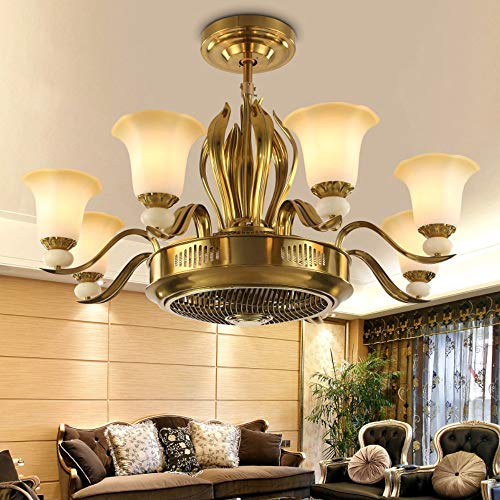 SOLUCKY Copper Steampunk Ceiling Light, 8 Heads Chandelier, Negative Ion Invisible Ceiling Fan Light with Remote Control for Indoor Lighting steampunk buy now online