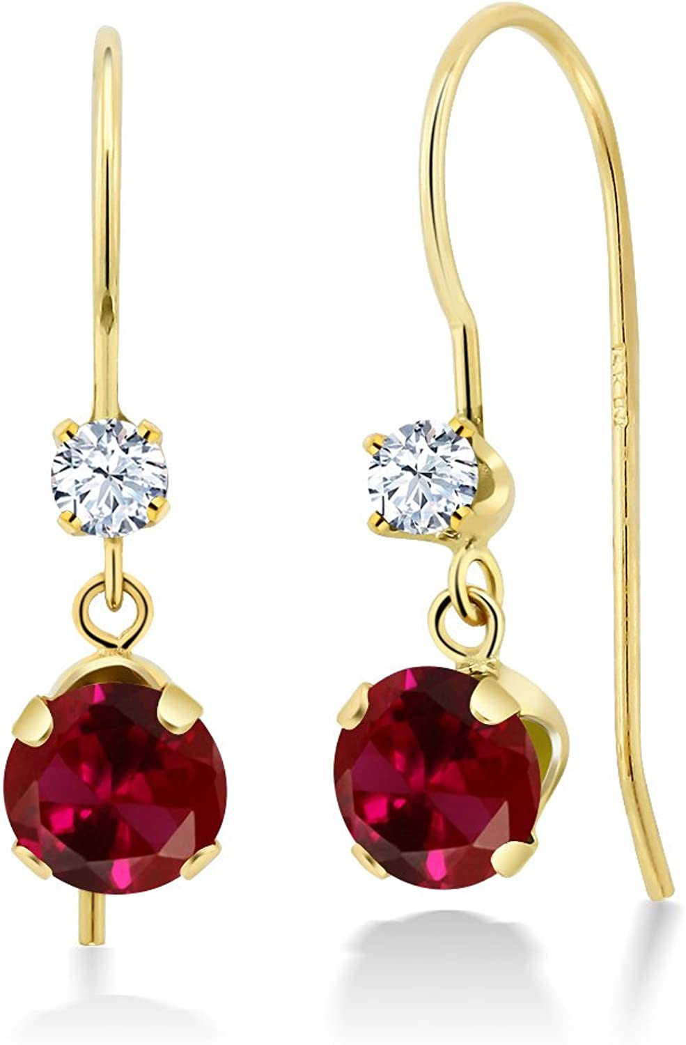 1.30 Ct Round Red Created Ruby 14K Yellow gold Earrings