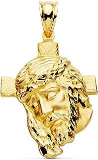 Colgante Rostro Cristo Oro 18 kilates 30 mm Cabeza Jesús Cruz