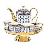 Tea Set Gold Jewelry Plaid Elegant Ceramic Tea Cup Set Deluxe European Style Afternoon Tea Coffee Cup Set European Retro Tea Set (Color : Red, Size : Set Of 14)