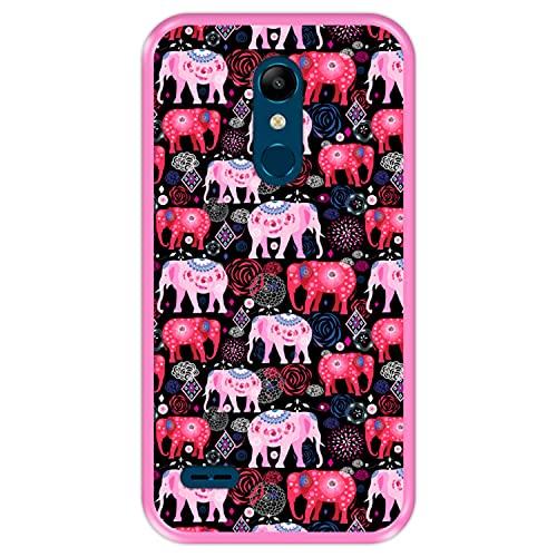 Hapdey Funda Rosa para [ LG K11 - K10 2018 ] diseño [ Patrón Brillante de Elefantes Rosados y Rojos ] Carcasa Silicona Flexible TPU
