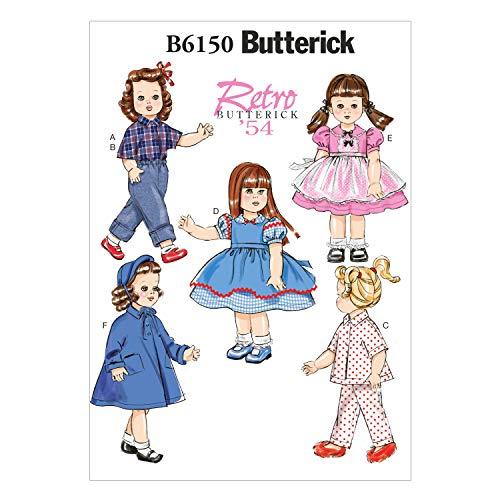 Butterick Patterns 6150OSZ - Cartamodello per Abiti da Bambola, 45,7 cm, Multicolore