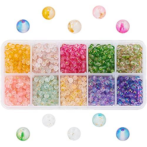 PandaHall 10 cuentas de vidrio pintadas en aerosol esmerilado de 4 mm con lámina dorada, redondas, sueltas para collares, pulseras, pendientes, hacer manualidades