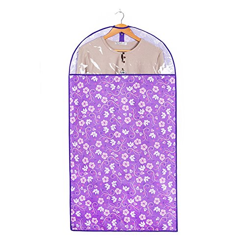 JunLong Suit épais lavable poussière Housse de vêtement de sacs de stockage pour mieux – Robe Combinaison Ensemble de sacs pour un rangement facile ou de voyage (Violet Fleur)