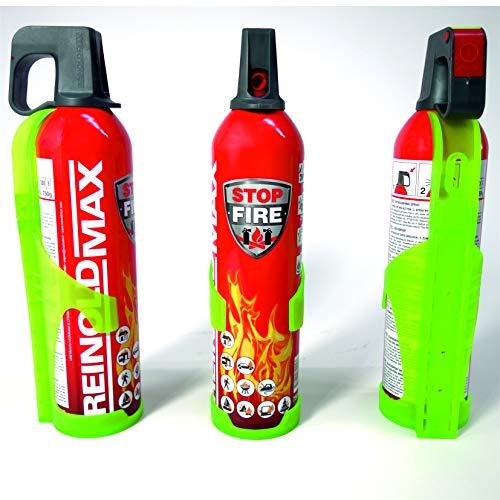 Xenotec® 3-er Set Stopfire 750 ml Feuerlöschspray + 3 Wandhalterungen grün (geeignet f. Fettbrände, 3x750g Netto + 3xWandhalterungen grün) Reinold Max