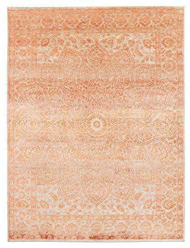 Zara Teppich / Teppich, 170 x 240 cm, traditionell, handgeknüpft, modernes Design, Seide / Wolle, Orange