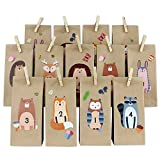 Papierdrachen DIY Adventskalender zum Befüllen - Waldtiere - Direkt zum Aufkleben und selber basteln - mit braunen Tüten und Klammern - Verschiedene Tiere