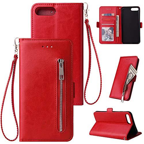 WIWJ Kompatibel mit iPhone 7 Plus iPhone 8 Plus Hülle Reißverschluss Lederhülle Wallet Handyhülle Klapphülle Ultra Slim Flip Case Stand Schutzhülle 360 Grad Bumper Tasche-Rot