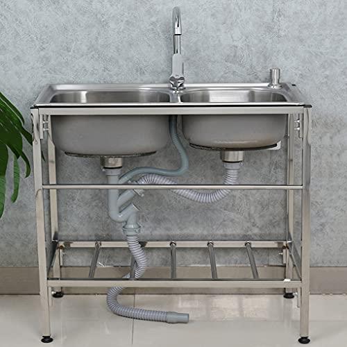 YXX Fregadero Doble de Acero Inoxidable 304, Fregadero de Comedor móvil Comercial, con Grifo de Agua fría y Caliente, se Puede Utilizar para el Fregadero de la lavandería, fácil de Limpiar e Instalar
