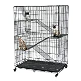 Cat Cage Playpen Metal Cat Training Folding Crate Vet Animal Transport Carrier With Tray Handle, 78 x 49 x 110cm, Black