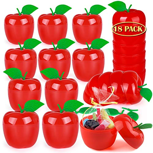 OKROSTOY 18 Pack Plastic Apple Containers Toy Filled Bobbing for Apples Bucket, Apple Party Favors White Snow Party Supplies Winter Party Decorations Supplies for Kids