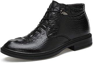 Tanxinxing Bottines pour homme en cuir véritable style décontracté avec imprimé crocodile, chaussures formelles montantes ...
