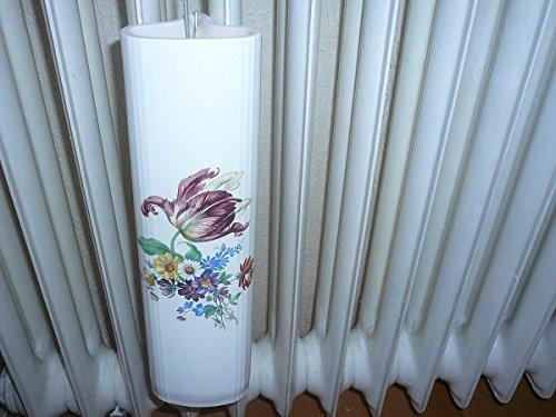 Wiegand Heizungsverdunster für Rippenheizkörper weiß lasiert mit Druck Blumen