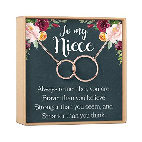 Dear Ava姪ネックレス:姪ギフトから叔母、姪ギフト、姪チャーム、姪確認、姪誕生日、ウェディングギフト、姪2Interlocking Circles
