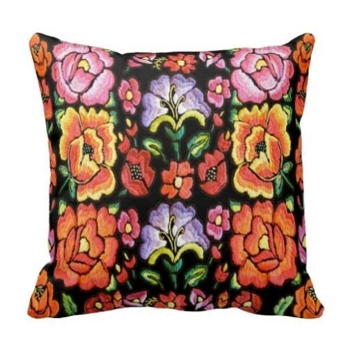 Cotton Linen Square Decorative Throw Pillow case/Kissenbezüge Cushion Cover Mexican Style Flower Print 18 Inch by PatriciaStore