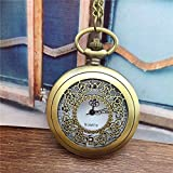 LLGG Reloj De Bolsillo con Clip,Reloj de Bolsillo con Solapa Pulido, Reloj de Bolsillo de Cuarzo Vintage-Bronce Hueco,Enfermera Prendedor Broche Reloj