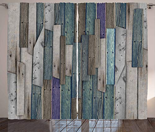 """Ambesonne Rustic Curtains, Image of Blue Grey Grunge Wood Planks Barn House Door Nails Country Life Theme Print, Living Room Bedroom Window Drapes 2 Panel Set, 108"""" X 108"""", Teal Purple"""